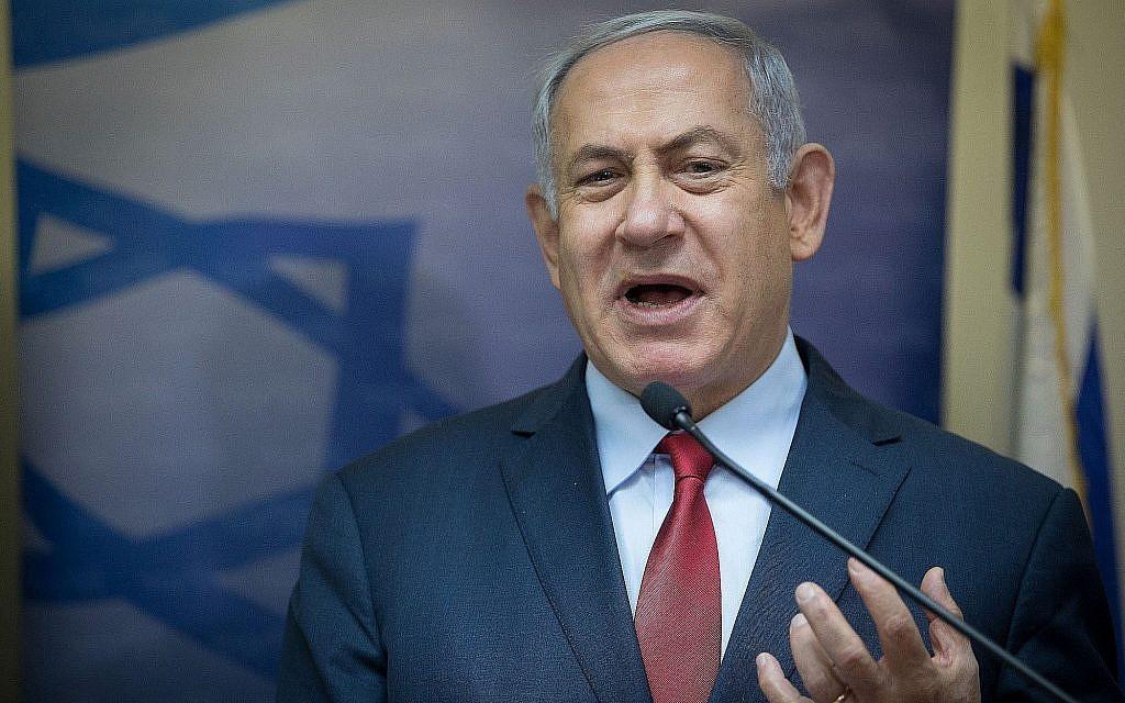 Le Premier ministre Benjamin Netanyahu lors d'une conférence de presse à la Knesset à Jérusalem pour souhaiter la bienvenue au Likud au ministre de l'Immigration Yoav Galant, le 9 janvier 2019. (Noam Revkin Fenton/Flash90)