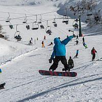 La station de ski du mont Hermon, le 11 janvier 2019. (Crédit : Basel Awidat/Flash90)