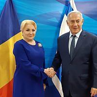 La Première ministre roumaine Viorica Dăncilă et le Premier ministre israélien   Benjamin Netanyahu se rencontrent à Jérusalem, le 18 janvier 2019. (Crédit :  Amos Ben-Gershom/GPO)
