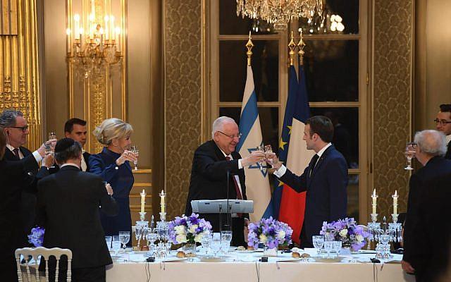 Dîner organisé par l'État françai sen l'honneur du président israélien Reuven Rivlin, à Paris, le 23 janvier 2019 (Crédit : Haïm Zach/GPO)