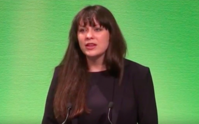 Amelia Womack, vice-présidente du parti des Verts au Royaume-Uni, dans une vidéo de campagne d'août 2016. (Crédit : capture d'écran YouTube)