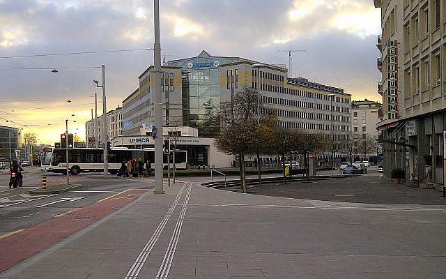 Le bâtiment de l'UNHCR à Genève en 2013. (Crédit : Milliped / CC BY-SA 3.0)