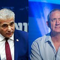 Yair Lapid de Yesh Atid, à gauche, et l'ancien chef d'Etat-major de l'armée israélienne Benny Gantz, à droite (Crédit : Flash90)