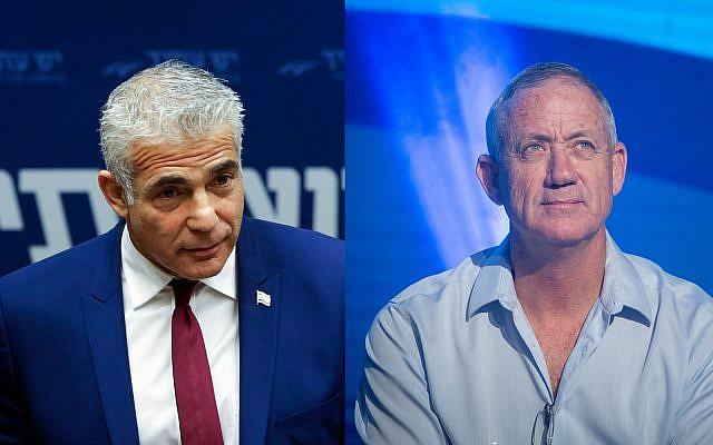 Yair Lapid de Yesh Atid, (à gauche), et l'ancien chef d'Etat-major de l'armée israélienne Benny Gantz. (Crédit : Flash90)