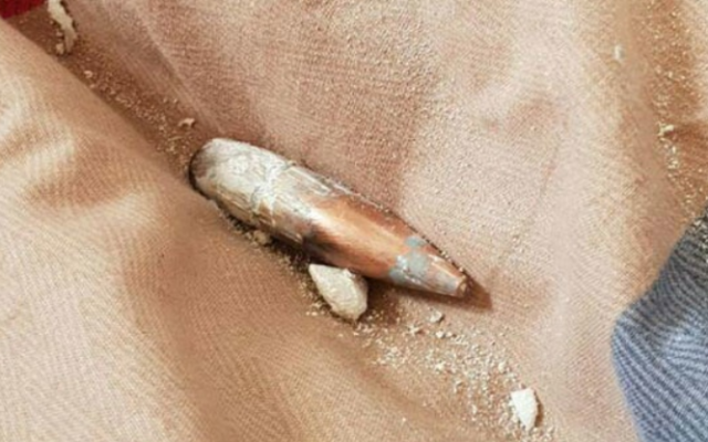 A bullet that hit a home in Nitzana and was apparently fired from Egypt, December 20, 2018. (Courtesy)