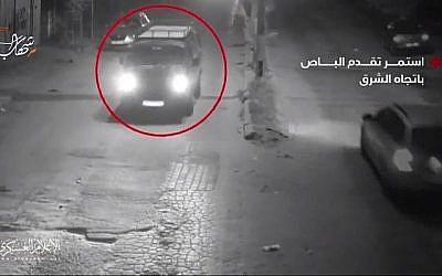Un véhicule commercial à Gaza qui, selon le Hamas, aurait été utilisé lors d'une opération spéciale qui a mal tourné, le 11 novembre 2018 (Capture d'écran)