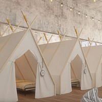 Les tentes au second étage de l'hôtel Spot (Autorisation / hôtel Spot)