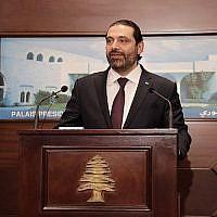 Le Premier ministre libanis Saad Hariri annonce la formation du nouveau gouvernement, au palais présidentiel de Baabda, à l'est de Beyrouth, le 31 janvier 2019. (Crédit : Anwar Amro/AFP)