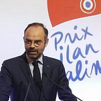 Le Premier ministre français Edouard Philippe lors de la remise du Prix Ilan Halimi, à Pars, le 12 février 2019. (Crédit : CHARLES PLATIAU / POOL / AFP)