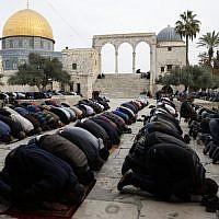 Des fidèles musulmans prient le vendredi midi près du sanctuaire du Dôme du Rocher dans l'enceinte de la mosquée al-Aqsa dans la Vieille Ville de Jérusalem, sur le Mont du Temple, 22 décembre 2017. (AFP Photo/Ahmad Gharabli)