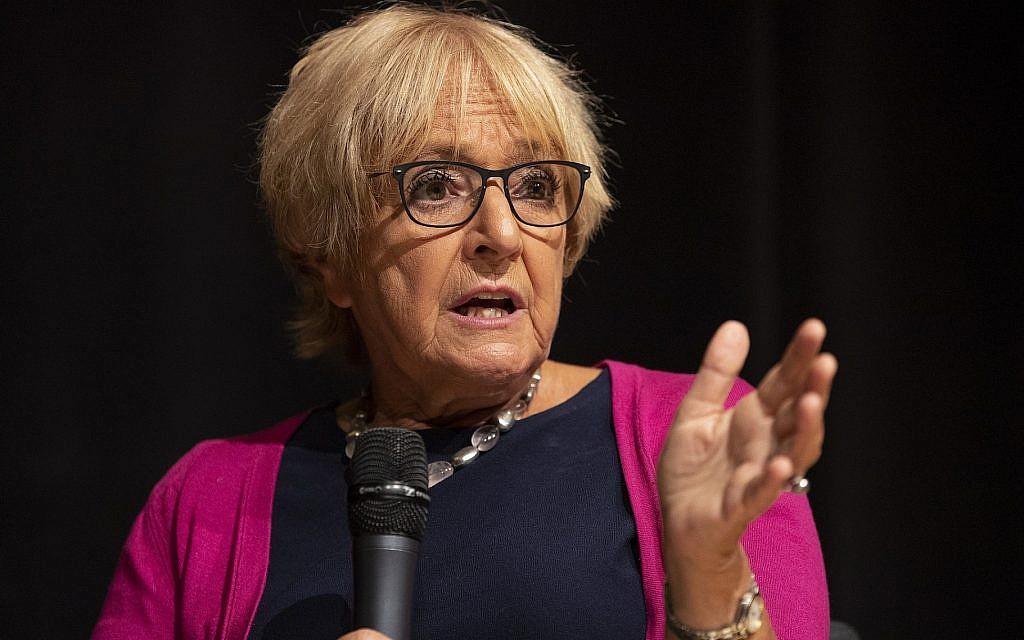 Margaret Hodge prend la parole lors de la Conférence du Jewish Labour Movement à Londres, le 2 septembre 2018. (Dan Kitwood/Getty Images/via JTA)