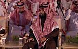 """Le prince héritier saoudien à une conférence sur l'investissement en octobre appelée le """"Davos du désert"""", en janvier 2019. (Crédit : AFPTV)"""
