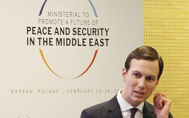 Le conseiller à la Maison Blanche Jared Kushner lors de la Conférence sur la paix et la sécurité au Moyen Orient à Varsovie, Pologne, le 14, février 2019. (Crédit : AP Photo/Czarek Sokolowski)
