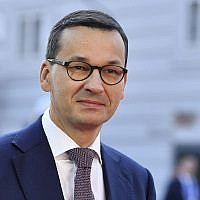 Le Premier ministre polonais Mateusz Morawiecki arrive lors d'un sommet informel de l'UE à Salzburg, en Autriche, le 20 septembre 2018. (Crédit : AP Photo/Kerstin Joensson)
