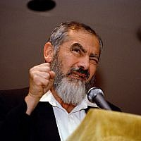 Meir Kahane prend la parole lors d'un rassemblement au Silver Springs Jewish Center dans le Maryland, le 27 octobre 1988. (AP Photo/Doug Mills)