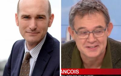 Montage. A gauche, Nicolas Hénin , à droite, Didier François, journalistes et anciens otage de l'Etat islamique. (Crédits : Ammar Abd Rabbo via Facebook / Capture d'écran France TVinfo)
