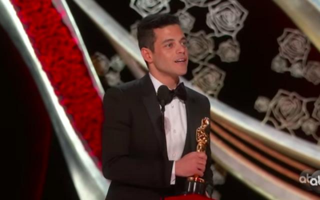 Rami Malek, le 24 février 2019 aux Oscars (Crédit : capture d'écran YouTube)