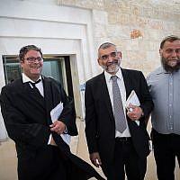 Les militants de droite Michael Ben Ari, l'avocat Itamar Ben Gvir et Bentzi Gopshtein arrivent à la Cour suprême à Jérusalem le 12 mars 2018. (Hadas Parush/Flash90)