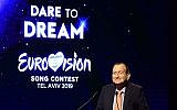 Le maire de Tel Aviv, Ron Huldai, qui accueillira le prochain Eurovision du 14 au 18 mai 2019, Tel Aviv. (Crédit : Tomer Neuberg/Flash90)