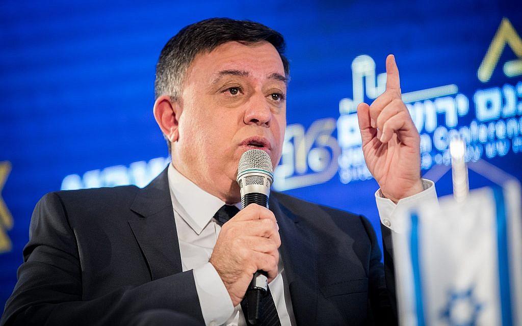 Avi Gabbay, chef du parti travailliste, lors d'une conférence du groupe  'Besheva', a Jérusalem, le 12 février, 2019. (Crédit : Yonatan Sindel/Flash90)