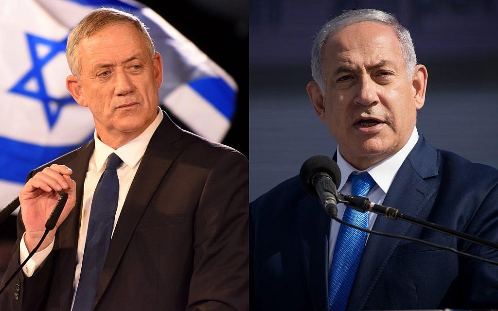 Benny Gantz, (à gauche), et le Premier ministre Benjamin Netanyahu, (à droite). (Crédit : Gili Yaari, Yonatan Sindel/Flash90)