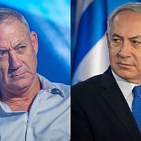L'ancien chef d'Etat-major de l'armée israélienne Benny Gantz, à gauche, et le Premier ministre Benjamin Netanyahu, à droite (Crédit :  Flash90)