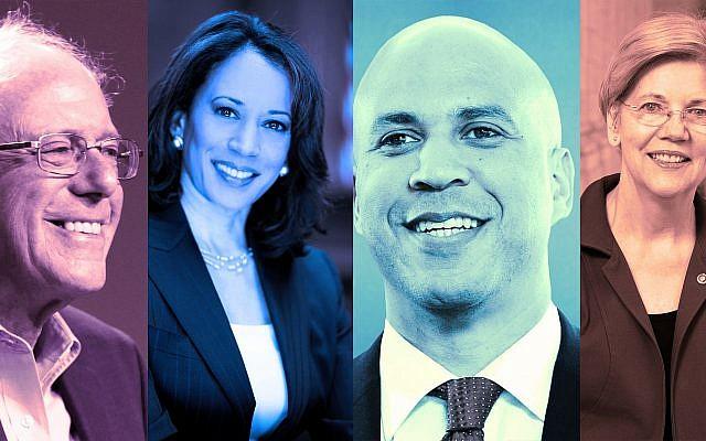 Depuis la gauche : Les sénateurs Bernie Sanders, Kamala Harris, Cory Booker et Elizabeth Warren. (Crédit : Wikimedia Commons via JTA)