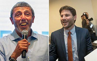 A gauche, le rabbin Rafi Peretz, chef d'HaBayit HaYehudi, s'exprimant à la convention du parti à Ramat Gan le 4 février 2019. A droite, Bezalel Smotrich célèbre son élection à la tête du parti Union nationale, à l'hôtel Crown Plaza de Jérusalem, le 14 janvier 2019. (Crédit : Yonatan Sindel/FLash90)