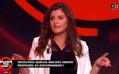 La secrétaire d'Etat Marlène Schiappa lors de l'émission de Cyril Hanouna consacré au Grand débat national (Crédit: capture d'écran Youtube/Victor Ferry)