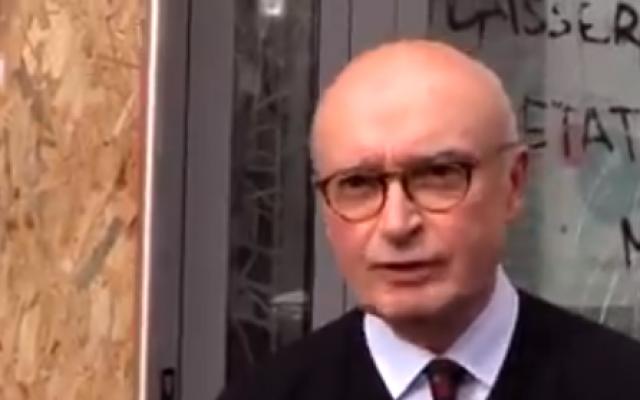 """Le radiologue de Toulouse explique comment il a reçu des projectiles et s'est fait insulter de """"bourgeois"""" et de """"sale juif"""" (Crédit: capture d'écran: J-Philippe Hidalgo/Twitter)"""