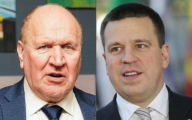 Mart Helme, à gauche, président du parti estonien ERKE, le 3 mars 2019, et le Premier ministre estonien Juri Ratas, le 13 décembre 2018, à Bruxelles. (Crédit : Raigo Pajula et Ludovic Marin/AFP)