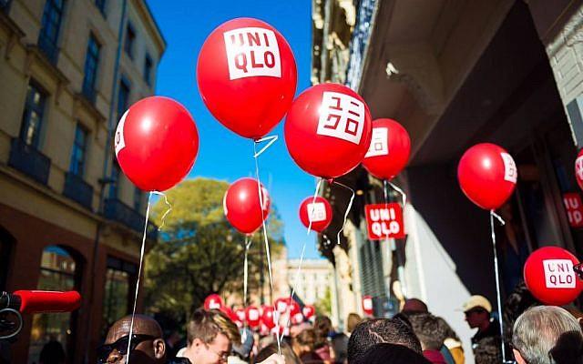 Des ballons de la marque Uniqlo. (Crédit photo : Uniqlo France / Facebook)