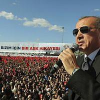 Le président turc Recep Tayyip Erdogan parle aux partisans du parti MHP d'opposition et à ceux de l'AKP au pouvoir lors d'un rassemblement conjoint à Istanbul, le 24 mars 2019 (Crédit :  Service de presse présidentiel e via AP, Pool)