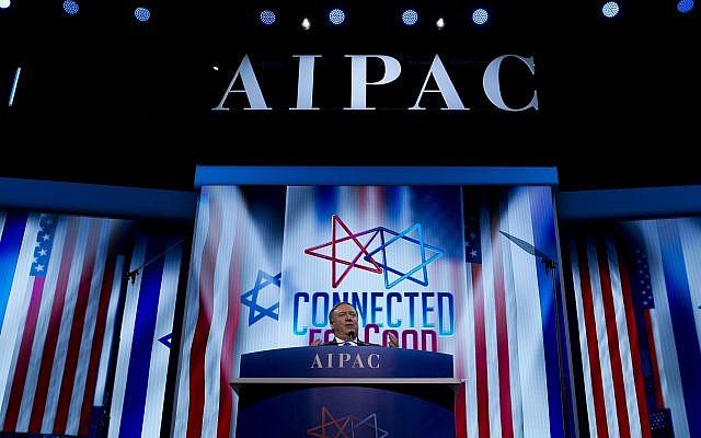 Le secrétaire d'Etat américain Mike Pompeo lors de la conférence 2019 de l'AIPAC(American Israel Public Affairs Committee) au centre de conférences de Washington, à Washington, le 25 mars 2019 (Crédit : Jose Luis Magana/AP)