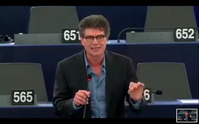 Pascal Durand lors d'une intervention au parlement européen, en 2016. (Crédit photo : capture d'écran YouTube)
