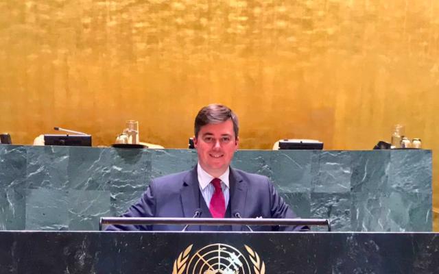 Le sénateur Christophe Frassa lors d'une visite au siège des Nations unies, à New York. (Crédit photo : Christophe Frassa / Twitter)