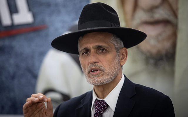 Le chef du parti Yahad Eli Yishaai, à un meeting de campagne le 12 mars 2019. (Crédit : Aharon Krohn/Flash90)