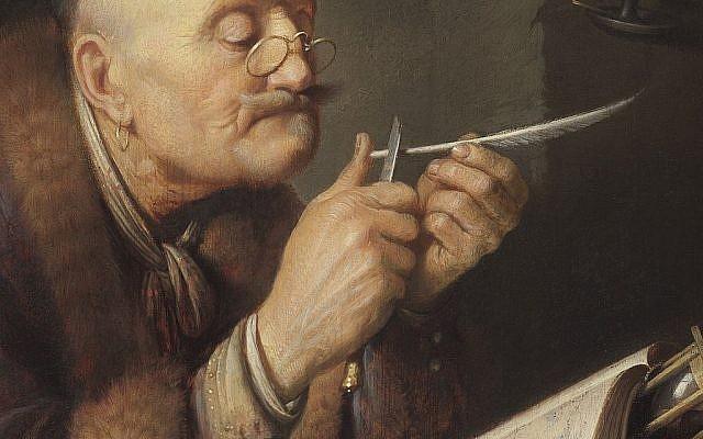 """Une toile de 1639, intitulée """"A scholar sharpening his quill"""" (""""Savant aiguisant sa plume"""") du peintre hollandais Salomon Koninck. (Crédit : Wikimedia Commons)"""