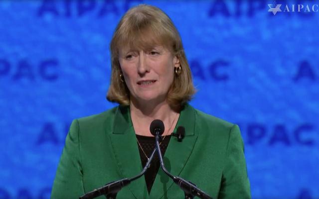 La députée britannique Joan Ryan lors de la conférence politique de l'AIPAC, le 24 mars 2019 (Capture d'écran : AIPAC)