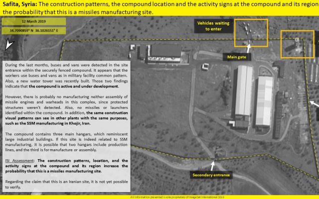 Une photo satellite fournie par ImageSat international (ISI) montre une installation de production de missiles syrienne présumée. (Avec l'aimable autorisation de ISI)