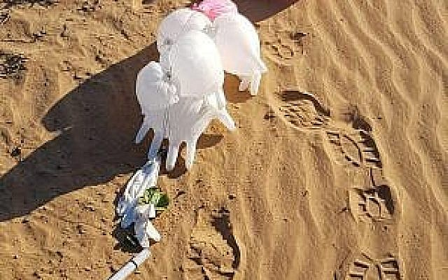 Un objet suspect attaché à un bouquet de ballons retrouvé dans la région d'Eshkol, au sud d'Israël, le 11 mars 2019. (Crédit : conseil régional d'Eshkol)