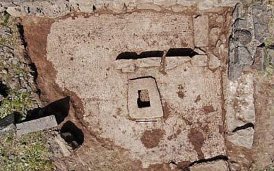 Le site de fouilles entreprises dans le parc national de Kozarim où un pressoir et une mosaïque ont été trouvés, au mois de mars 2019 (Crédit : Ahiya Cohen-Tavor/Autorité des parcs et de la nature israélienne)