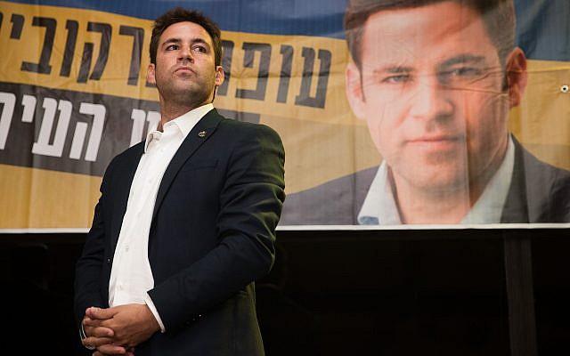 Ofer Berkovitch, candidat à la mairie de Jérusalem et chef du mouvement Hitorerut (Eveil), lors de l'ouverture de la campagne électorale de Hitorerut à Jérusalem, le 2 septembre 2018. (Yonatan Sindel/Flash90)