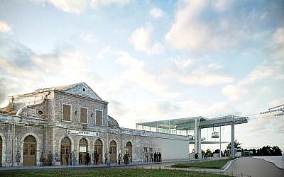 Esquisse illustrant la station de téléphérique qui sera située à côté du complexe de l'Ancienne gare à Jérusalem.