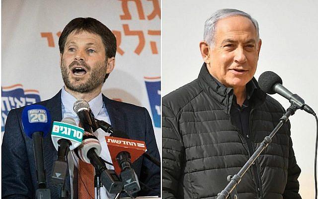 A gauche, Bezalel Smotrich après avoir été élu président de l'Union nationale, à l'hôtel Crown Plaza à Jérusalem, le 14 janvier 2019. (Yonatan Sindel/Flash90). A droite, le Premier ministre Benjamin Netanyahu rend visite à un entraînement du Corps blindé sur la base de Shizafon, dans le sud d'Israël, le 23 janvier 2019. (Flash90)