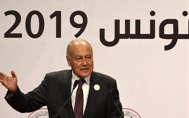 Le chef de la Ligue arabe Ahmed Aboul Gheit au sommet de Ligue arabe, à Tunis, le 31 mars 2019. (Crédit : FETHI BELAID / AFP)