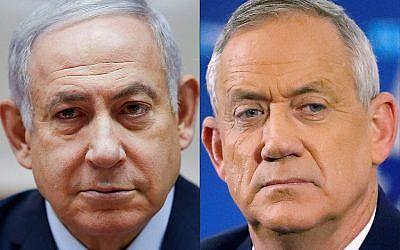 Le Premier ministre  Benjamin Netanyahu (à gauche) et le leader de Kakhol lavan Benny Gantz (Crédit : Oded Balilty et JACK GUEZ / AFP)