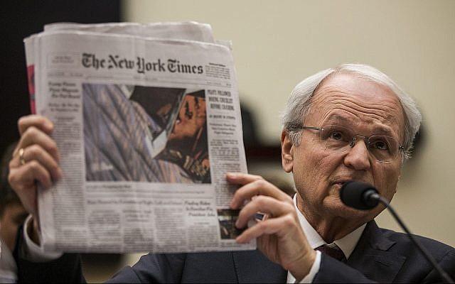 Morton Klein, président de l'Organisation sioniste d'Amérique, témoigne devant une commission judiciaire de la Chambre des représentants discutant des crimes de haine et de la montée du nationalisme blanc, le 9 avril 2019. (Zach Gibson/Getty Images/via JTA)