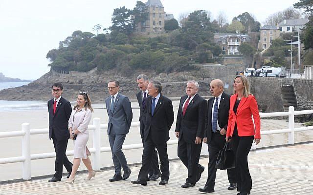 Les responsables des Affaires étrangères des pays du G7, à Dinard (Bretagne), le 6 avril 2019. (Crédit photo : francediplomatie / Flickr)