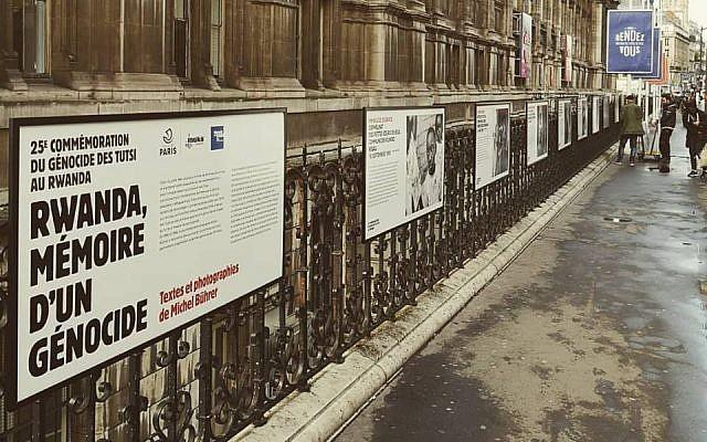 Exposition sur le génocide au Rwanda au Mémorial de la Shoah, à Paris, en avril (Crédit : Mémorial de la Shoah via Facebook)